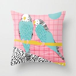 Hottie - throwback retro 1980s 80s style memphis dots bird art neon cool hipster college dorm art Throw Pillow