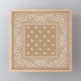 Bandana - Southwestern - Paisley - Latte  Framed Mini Art Print