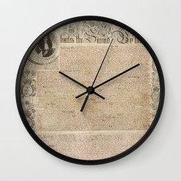 1661 Royal Charter for the State of Rhode Island and Providence Plantations from King Charles II Wall Clock