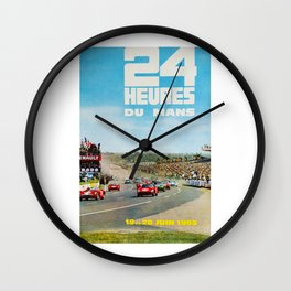 1965 Le Mans poster, Race poster, car poster, garage poster Wall Clock