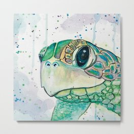 Watercolor Sea Turtle Painting Sea Animals Beach Inspired Wall Art Ocean Artwork Seaside Decor Metal Print