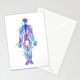 Human Body With All Nerves Art Gift Anatomy Art Colorful Blue Purple Watercolor Gift Medical Art Stationery Cards