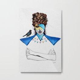 Blue Girl & Black Bird Metal Print