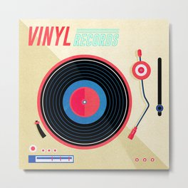 Retro Vinyl Album Record Player Metal Print