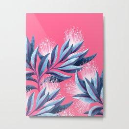 Pohutukawa - Pink / White Metal Print