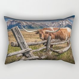 Texas Longhorn Steer with Wood Log Fence in Wyoming Pasture Rectangular Pillow