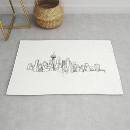 Seattle Skyline Drawing Rug