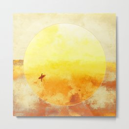 Golden Sun Surf Abstract Art Metal Print