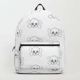 Grey Skull and Crossbones Print and Pattern Backpack