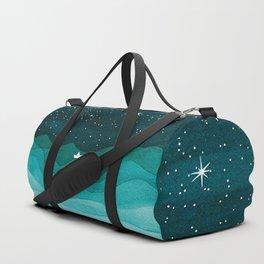Starry Ocean, teal sailboat watercolor sea waves night Sporttaschen