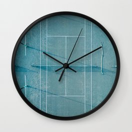 Blue tennis court at sunrise | Colorful drone aerial photography art | sports field print Wall Clock