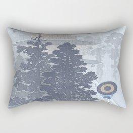 Man with Umbrella And Japanese Pagoda - Vintage Japanese Woodblock Print Art By Ohara Koson Rectangular Pillow