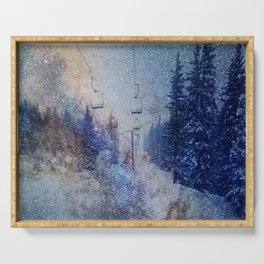 Chairlift into the Universe // Milky Way Galaxy Snowboarding Snow Nebula Stars Mixed Media Popart Serving Tray