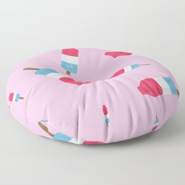 Popsicles - Retro Pattern - (pink background) Floor Pillow