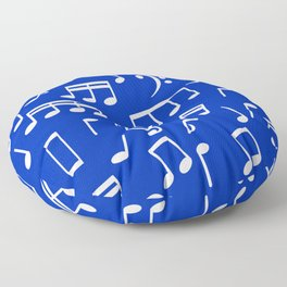 Dancing White Music Notes on Blue Background Floor Pillow