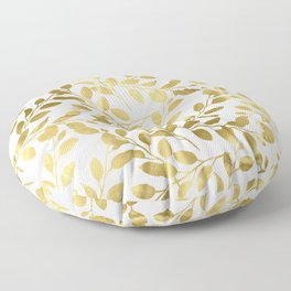 Gold Leaves on White Floor Pillow