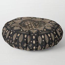 Hamsa Hand -Hand of Fatima in Lotus mandala Floor Pillow