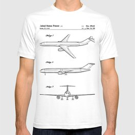Boeing 777 Airliner Patent - 777 Airplane Art - Black And White T-shirt