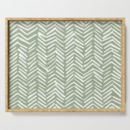 Boho, Abstract, Herringbone Pattern, Sage Green and White Serving Tray