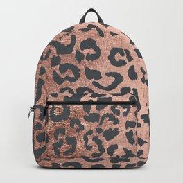 Modern charcoal grey rose gold leopard pattern Backpack