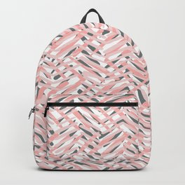 Boho Art, Tropical Weave Pattern, Blush Pink, Coral and Gray Backpack