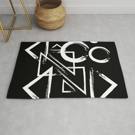 geometry circle triangle - white on black Rug