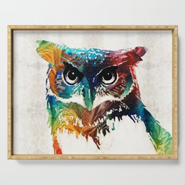 Colorful Owl Art - Wise Guy - By Sharon Cummings Serving Tray