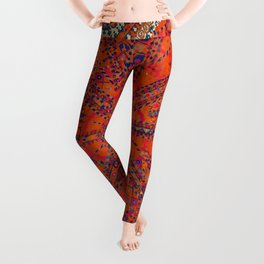 Orange Wildflower Sunshine II // 18th Century Colorful Rusty Red Bright Blue Metallic Happy Pattern Leggings