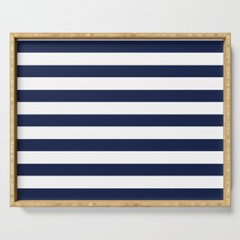 Nautical Navy Blue and White Stripes Serving Tray