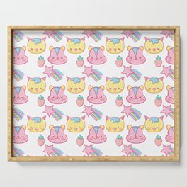cute pastel critters pattern Serving Tray