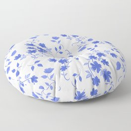 Delft/Chinoiserie Inspired Blue Floral Pattern Floor Pillow