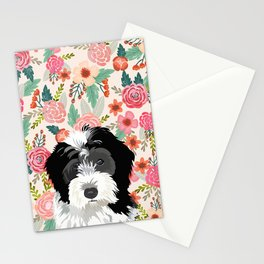 Bernedoodle floral pet portrait art print and dog gifts Stationery Cards