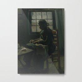 Woman Sewing Metal Print