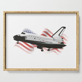 Space Shuttle with American Flag Serving Tray