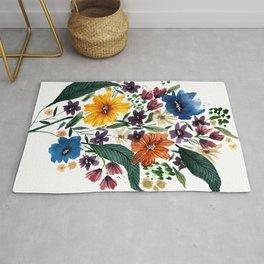 Spring Loose Watercolor Flowers Rug