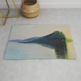 Serenity, Peace, & Quiet of the Early Morning Island landscape by Mikalojus Konstantinas Ciurlionis Rug