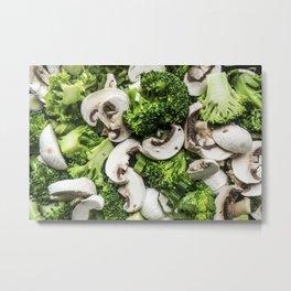 Broccoli mushrooms mix Metal Print