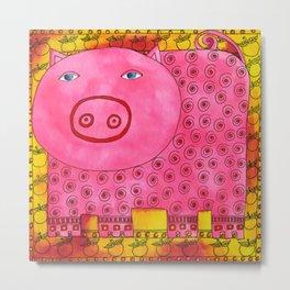 Patterned Pig Metal Print