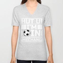 """Soccer """"Shut Up I'm Doing Gamechanger"""" Design For December 25th T-shirt Design Carol Gift Tree Bell Unisex V-Neck"""