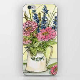 Pink Zinnias in Pitcher Watercolor iPhone Skin