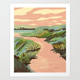 Pink Hill Landscape Art Print
