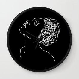 Black And White Line Art Female Portrait Wall Clock