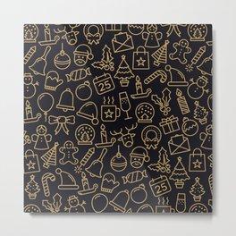 Lovely Golden Christmas Stuffs Pattern Metal Print
