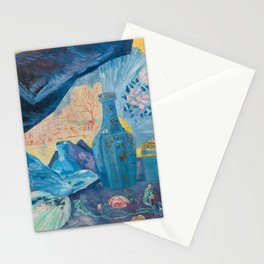 Harmonie en Bleu (Harmony in Blue) fans, china, flowers, shoes and shimmering clothes by James Ensor Stationery Cards
