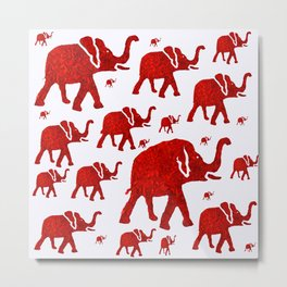 ELEPHANT Red #1 Metal Print