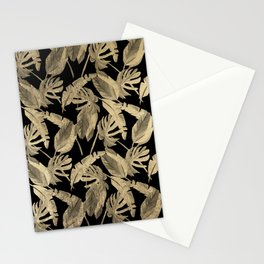 Elegant chic black gold tropical banana leaves Stationery Cards