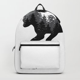Fox silhouette with a forest on the back Backpack