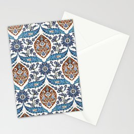 Iznik Tile Pattern Blue White Brown Stationery Cards