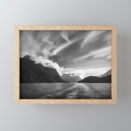 Dramatic clouds and alpine scenery at Lake Manapouri Framed Mini Art Print