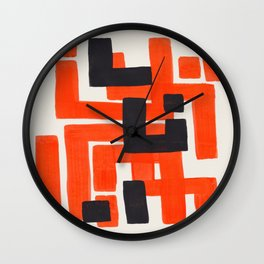 Harsh Mid Century Modern Line Pattern Ancient Aztec Ruins Orange Maze Pattern Black Accent Wall Clock